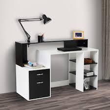 storage for office at home. HOMCOM Compact Computer Table Multipurpose Workstation Storage Home Office Writing Desk For At E