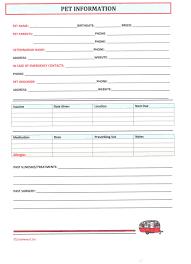 Pet Info Sheet Barca Fontanacountryinn Com