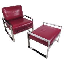vintage modern chrome and leather chair with ottoman for