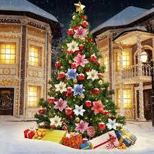 Poinsettia Christmas Tree Lights Uk 10pcs Christmas Glitter Poinsettia Christmas Tree Ornaments