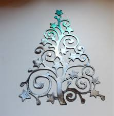 swirly ornamental christmas tree metal wall art decor teal tainted silver on silver metal wall art trees with email