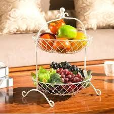 fruit basket kitchen storage rack pots dish metal two story living room flower countertop baskets
