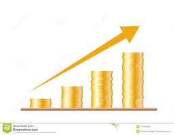 Isol Stock Chart Four Stacks Of Gold Coins With An Arrow Of A Growing Chart