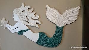wall art decor ideas crushed glass wooden mermaid wall