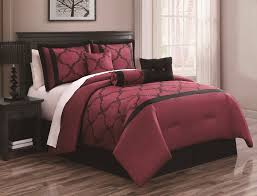 Burgundy Bedding: 11-Pc Black and Burgundy Comforter Sheet Set
