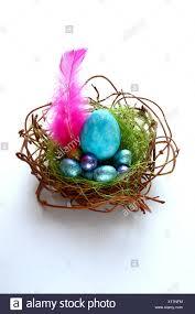 Light Blue Eggs In Nest Blue Isolated Easter Gift Nest Decoration Easter Egg Egg