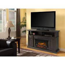 muskoka delaney 48 in freestanding electric fireplace tv stand in rustic brown