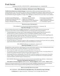 manufacturing resume sample operations manager sample resume hotwiresite com