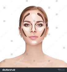 make up woman face on white background contour and highlight makeup professional
