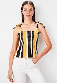 Trendyol Size Chart Tie Shoulder Striped Top