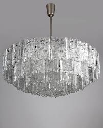 ahl3951 a large vintage chandelier with deeply textured glass tiles and aged nickel metalwork designed by