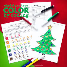 Christmas Tree Color By Coding Christmas Coloring Page Left Brain