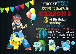 Free Online Party Invitations With Rsvp Free Pokemon Invitations Printable Invitations Free Pokemon Birthday