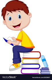 boy cartoon reading book vector image