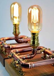 reclaimed industrial lighting. Industrial Bedside Lamps Pair Of Copper Pipe Table On Reclaimed Oak Stands . Lighting
