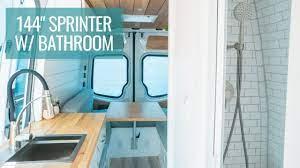 Amazing 144 Sprinter Van With A Full Bathroom Van Tour Youtube