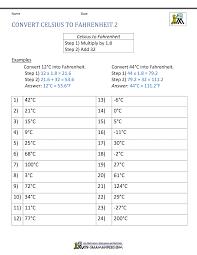 Temperature Conversion Worksheet