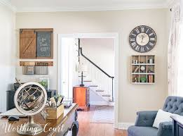 home office wall. Rustic Industrial Wall Decor For A Farmhouse Style Home Office || Worthing Court