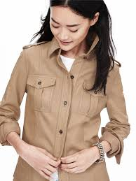 lyst banana republic heritage leather shirt jacket in natural