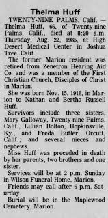 Obituary for Thelma Huff, 1918-1985 (Aged 66) - Newspapers.com