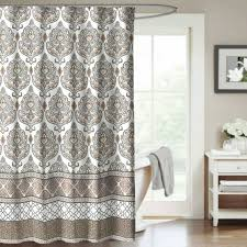 washable shower curtain crest home darien natural fabric shower curtain damask medallion tan and gray