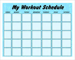 workout planner template exercise weekly schedule template