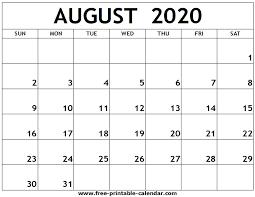 August 2020 Printable Calendar Free Printable Calendar Com