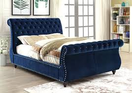 Furniture Of America Noella Fabric Upholstered Queen Sleigh Bed In Navy  Finish - Main Image