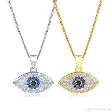 lucky evil eye pendant necklace 18k gold plated copper copper platinum zircon turkish jewelry blue eyes turkey charm chain necklaces pendant necklace evil