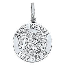 saint michael archangel round medal 14k