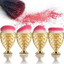 start 4pc set gold brush fish scale fishl powder foundation makeup cosmetic all shapes brush