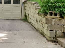 a failing retaining wall around a driveway in omaha
