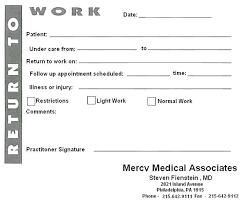 Best Photos Of Printable Notes For Work Free Doctors Letters