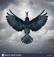 success dom business concept as a man riding an open wing bird stock photo success dom business concept as a man riding an open wing bird flying upward as a symbol for reaching career goals or leader