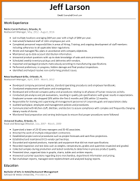 9 Resume Sample Restaurant Manager Budget Reporting