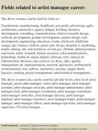 Artist Manager Resume Job Description Top 8 Artist Manager Resume Samples