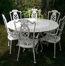 white iron garden furniture. RARE-ORNATE-WROUGHT-IRON-GARDEN-TABLE-SET-6- White Iron Garden Furniture I
