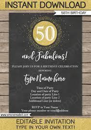50th Birthday Invitations Templates Chalkboard 50th Birthday Invitations Template Editable
