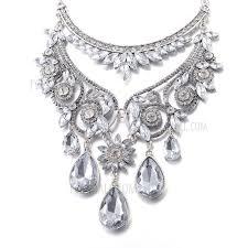 fsn239 women s bling diamond pendant necklace exquisite bib necklace chunky necklace transpa 1