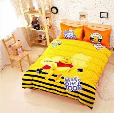 cute cartoon winnie the pooh yellow children s bedding set twin queen king size cotton quality duvet cover sheet bedset bedset linen