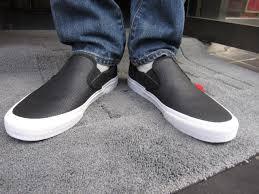 vans vans classic slip on perf leather black classic slip