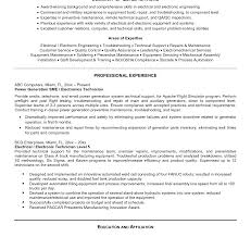 Power Plant Resume Examples Best of Resume Sample For Electronics Engineer Your Job Technician Template