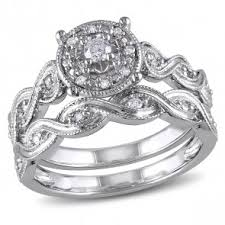 discount diamond wedding ring sets. 1/5 ctw round-cut diamond bridal set ring in sterling silver discount wedding sets