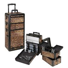professional rolling makeup case w drawers leopard