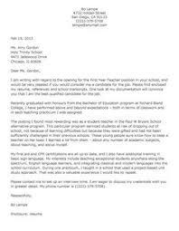 Sample Cover Letter For Teacher Resume Samples Pinterest