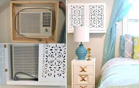 wall ac with heater build a cupboard with laser cut wood paneling around the ac unit wall ac