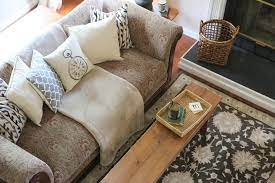 updating a dated sofa home staging