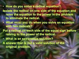 how do you solve a radical equation