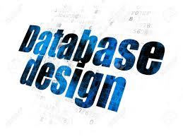 Database Design And Programming Programming Concept Pixelated Blue Text Database Design On Digital