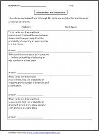 Grade Independent And Dependent Probability Worksheets Free ...